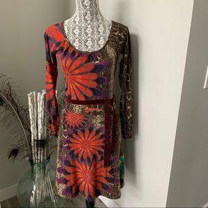 DESIGUAL Dress Floral and Brown Reptile Print Sz M